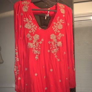 Free People Coral Orange Embroidered Tunic/Dress